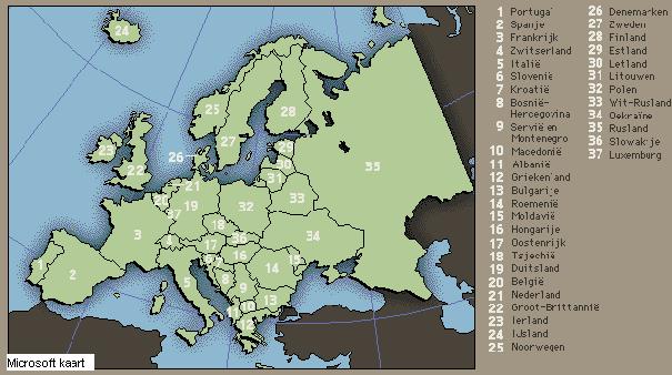 kaart europa nl